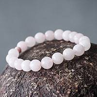 Rose quartz and ceramic stretch bracelet,