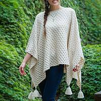 100% alpaca poncho, 'Ivory Star' - Ivory colour 100% Alpaca Women's Poncho from Peru