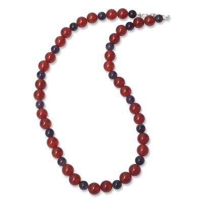 Handmade Peruvian Carnelian and Amethyst Bead Necklace