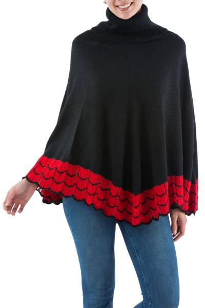 Alpaca blend poncho, 'Rosary Pea' - Black Alpaca Blend Cowl Neck Poncho with Red Trim