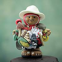 Ceramic figurine, 'Good Fortune in the Highlands' - Andean Ekeko Ceramic Figurine for Luck and Abundance