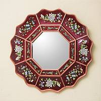 Reverse painted glass mirror, 'Wine Blossom Fiesta' - Burgundy Floral Reverse Painted Glass Wall Mirror