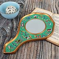 Reverse painted glass hand mirror, 'Aqua Butterflies' - Reverse Painted Glass Aqua Floral Hand Mirror