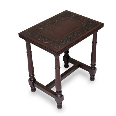 Mohena wood and leather end table, 'Brown Colonial Foliage' - Mohena Wood End Table with Brown Hand Tooled Leather