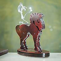 Steel sculpture, 'Horseback Harlequin' - Steel Harlequin on Red Horse Signed Sculpture from Peru