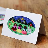 Applique greeting cards, 'Little Gossips' (set of 5) - All Purpose Blank Applique Greeting Cards (set of 5)