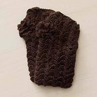 100% alpaca fingerless mittens, 'Chocolate Warmth' - Handcrafted Peruvian Brown Alpaca Fingerless Mittens