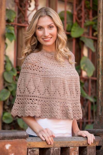 100% alpaca poncho, 'Magical Detail' - Alpaca Hand Knitted Beige Poncho with Multiple Patterns