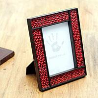 Wood and glass photo frame, 'From the Jungle, its Fruit' (4x6) - Peruvian Handcrafted Wood and Glass Photo Frame (4x6)