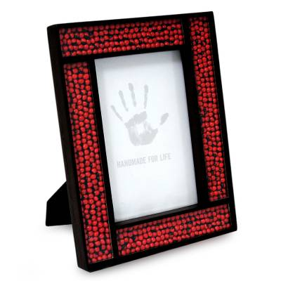 Peruvian Handcrafted Wood and Glass Photo Frame (4x6)