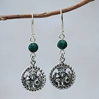 Chrysocolla dangle earrings, 'Inca Star Walker' - Inca Glyph Earrings with Chrysocolla and 925 Sterling Silver