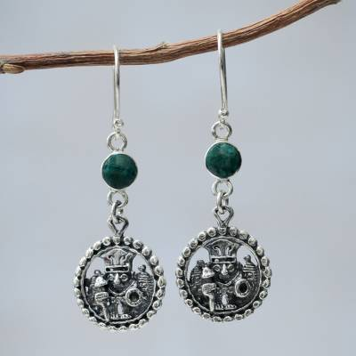 Chrysocolla dangle earrings, Inca Star Walker