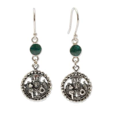 Inca Glyph Earrings with Chrysocolla and 925 Sterling Silver