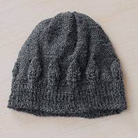 100% alpaca hat, 'Arequipa Grey' - Charcoal Grey Hand Knitted 100% Alpaca Hat from Peru