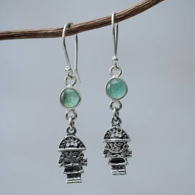 Opal dangle earrings, 'Inca Tumi' - Artisan Crafted Sterling Silver and Opal Hook Earrings