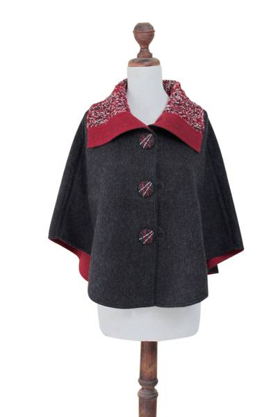 Andean Reversible Red and Grey 100% Alpaca Short Ruana Cape