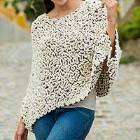 100% alpaca poncho, 'Snow Maze' - Short Crocheted Alpaca Poncho in White over Brown from Peru