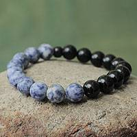 Sodalite and agate stretch bracelet, 'Ocean Night' - Sodalite and Agate Stretch Bracelet with Ceramic Beads