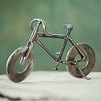 Recycled metal sculpture, 'Eco-Bicycle' - Peruvian Handcrafted Recycled Metal Bicycle Sculpture