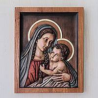 Cedar relief panel, 'Virgin from the Countryside' - Peruvian Hand Carved Cedar Wood Madonna Wall Sculpture