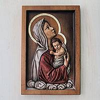 Cedar relief panel, 'Madonna of Good Rest on Clouds' - Peruvian Christian Art Hand Carved Cedar Madonna Plaque