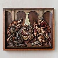 Cedar relief panel, 'Nativity with Shepherds' - Handcrafted Cedar Wood Nativity Scene Relief Sculpture