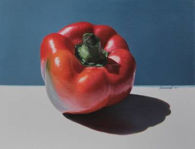'Simple but Dramatic' - Signed Realistic Red Pimento Oil on Canvas Painting