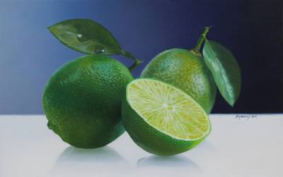 'Your Secret is in Your Flavor' - Signed Realistic Oil Painting of Limes from Peru