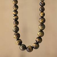 Tiger's eye beaded necklace, 'Inner Fire' - Artisan Crafted Tigers Eye and Ceramic Beaded Necklace