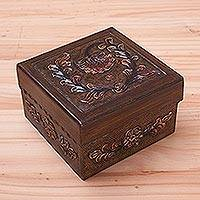 Mohena wood and leather box, 'Arequipa Wildflowers' - Handmade Artisan Crafted Floral Tooled Leather Keepsake Box
