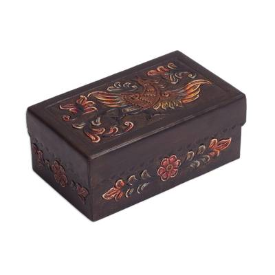 Mohena wood and leather jewelry box, 'Song of the Andes' - Mohena Wood Keepsake Box with Hand Tooled Leather