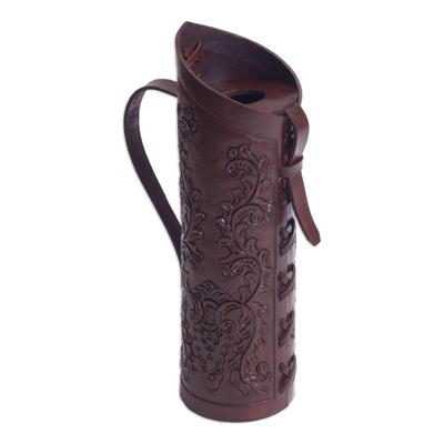 Andean Original Hand Tooled Leather Wine Bottle Holder