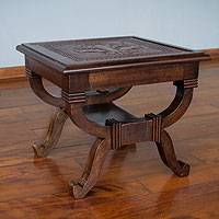 Leather and mohena wood accent table, 'Touch of Elegance' - Leather and Mohena Wood Contemporary Table with Engraving