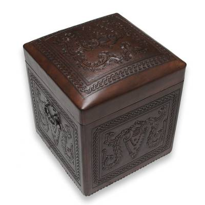 Leather ottoman, 'Colonial Elegance' - Hand Tooled Leather Hardwood Ottoman Chest from Peru