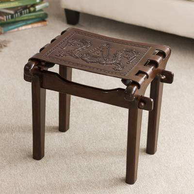 Mohena wood and leather stool, 'Colonial Elegance' - Artisan Crafted Colonial Theme Hardwood and Leather Stool