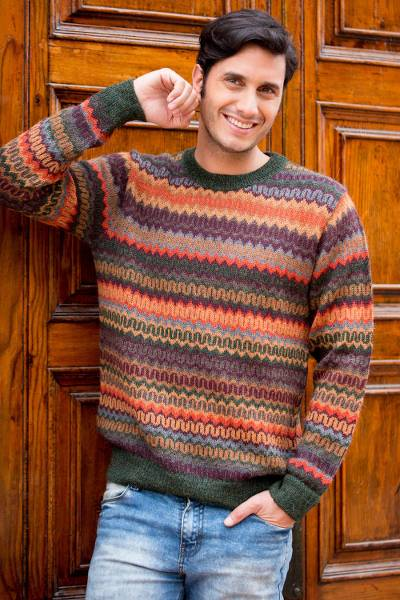 Men's 100% alpaca sweater, 'Andean Homeland' - Multicolor Alpaca Men's Sweater with Forest Green