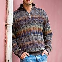 Men's 100% alpaca sweater, 'Traveler' - Peruvian 100% Alpaca Men's Sweater with Zipper