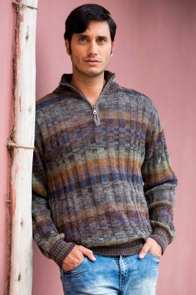Mens 100% alpaca sweater, Traveler