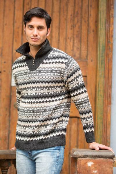 Mens 100% alpaca sweater, Huascaran Explorer
