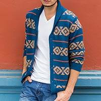 Men's 100% alpaca cardigan, 'Blue Chakana' - Men's Blue and Brown Alpaca Cardigan Sweater from Peru