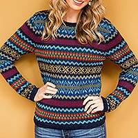 100% alpaca sweater, 'Cajamarca Sky' - Knitted Alpaca Wool Pullover Sweater in Blue and Multicolors
