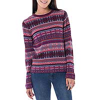 100% alpaca sweater, 'Pink Plum' - Fair Isle Inspired Alpaca Pullover Sweater from Peru