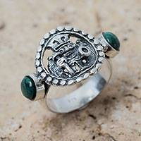 Chrysocolla cocktail ring, 'Inca Star Walker' - Chrysocolla on Burnished Sterling Silver Ring from Peru