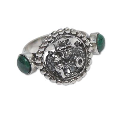 Chrysocolla on Burnished Sterling Silver Ring from Peru
