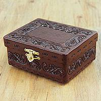 Leather and mohena wood jewelry box, 'Vintage Coffer' - Tooled Leather on Wood Jewelry Box Crafted by Hand