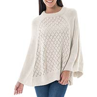 Alpaca blend poncho, 'Andes in Beige' - Knit Beige Alpaca Blend Poncho with Fretwork from Peru