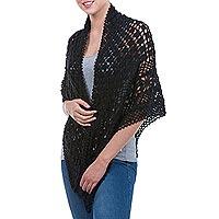 100% alpaca shawl, 'Versatile Black' - Hand Knitted Warm Black 100% Alpaca Patterned Shawl