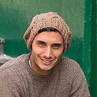 Men's alpaca blend hat, 'Andean Earth' - Men's Hat in Brown Alpaca Blend with Thick Braided Pattern
