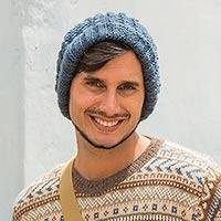 Men's alpaca blend hat, 'Warm Wind' - Solid Steel Blue Hand Knitted Alpaca Blend Hat for Men