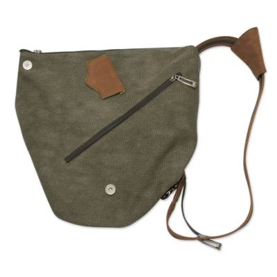 Leather Accent Green Cotton Backpack Purse from Peru